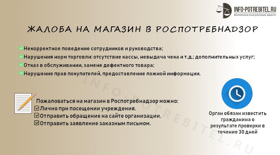 Жалоба на магазин в Роспотребнадзор